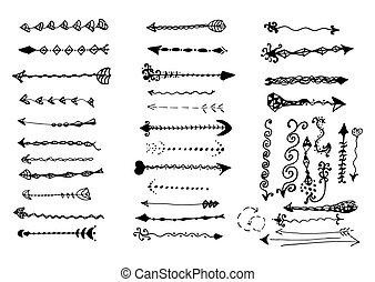 페이지, set., 화살, 포도 수확, 꾸밈이다, designer's, 연장 모음