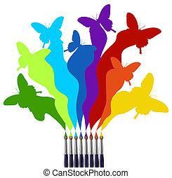 페인트, 무지개, 나비, 착색되는, 솔