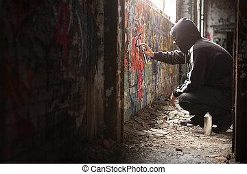 페인트, 위법의, 나이 적은 편의, wall., 뿌리는 것, 검정, 낙서, 남자