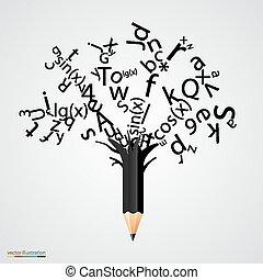 편지, 떼어내다, 나무, 검정