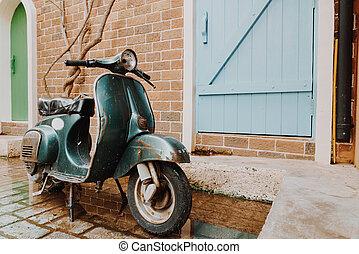 포도 수확, 늙은, 오토바이