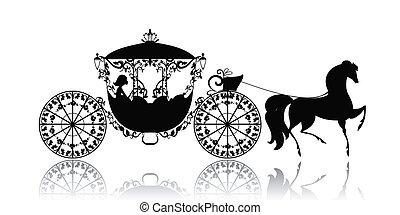 포도 수확, 말, 실루엣, 탈것
