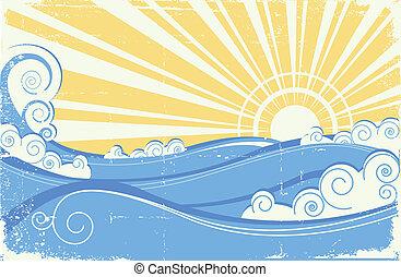 포도 수확, 삽화, 벡터, waves., 바다, 태양, 조경술을 써서 녹화하다