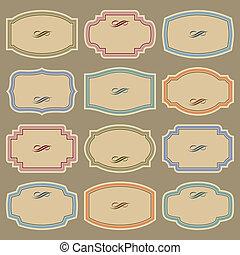 포도 수확, 상표, 세트, (vector), 공백