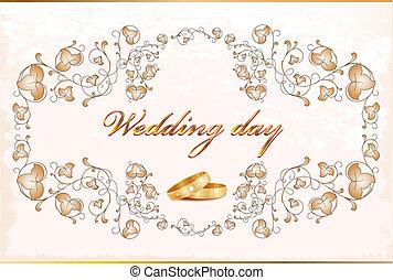 포도 수확, card., 결혼식