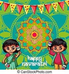 포스터, 행복하다, 디자인, 아이들, navaratri
