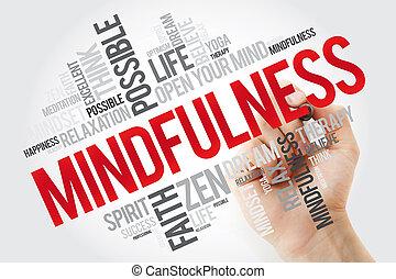 표를 붙이는 사람, 낱말, 구름, mindfulness