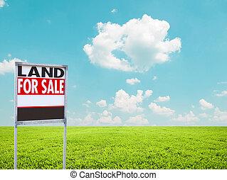 표시, 땅, 빈 광주리, 판매, 녹색 분야