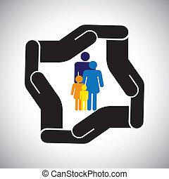 표현한다, 문자로 쓰는, 키드 구두, 가족, 사고, 보호, etc., 역시, 개념, 안전, 아버지, vector., 어머니, 건강 보험, 또는