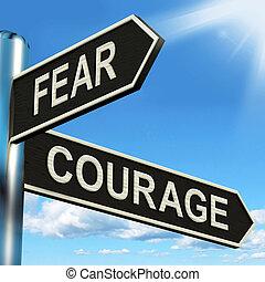 푯말, 깜짝 놀란, 용기 있는, 용기, 공포, 또는, 쇼