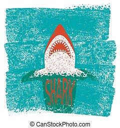 푸른 배경, 바다, 파도, 벡터, jaws., 상어