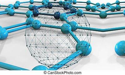 푸른 배경, 점, 분자로 된, -, 3차원, 접속된다, 삽화, 은 일렬로 세운다, 이어지는 것, 점
