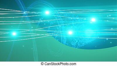 푸른 빛, 구성, 암흑, 백열하는 것, 커브, 배경, 위의, 점, 접속된다, 녹색