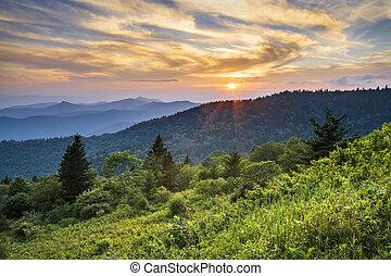 푸른 산, 이랑, 무대의, 일몰, cowee, 서부극, 북쪽, 공원도로, 조경술을 써서 녹화하다, 캐롤라이나