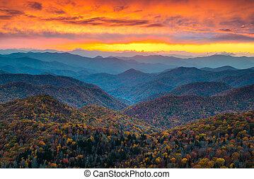 푸른 산, 이랑, 무대의, 일몰, landsc, 북쪽, 공원도로, 캐롤라이나