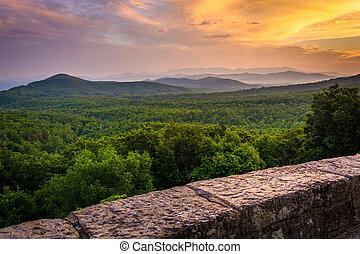푸른 산, 이랑, appalachian, 아빠, 보는, 일몰