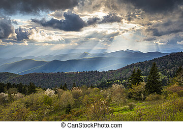 푸른 산, 저녁, 북쪽, appalachian, 사진술, nc, asheville, 일몰, 조경술을 써서 녹화하다, 이랑, 공원도로, 사우스 캐롤라이나