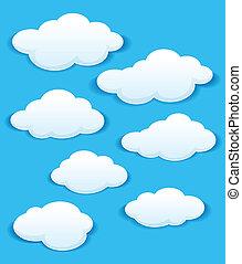 푸른 하늘, 구름, 세트, 백색