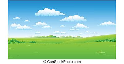푸른 하늘, 녹색의 풍경