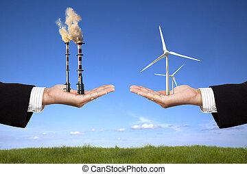 풍차, 보유, 에너지, 공기, 정련소, 날씬한, 실업가, concept., 오염