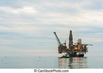 플랫폼, 기름, 평온, 바다, 의장