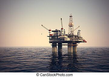플랫폼, 기름, sea.