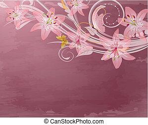 핑크, 공상, 꽃, retro