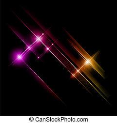 핑크, 광선, 떼어내다, lights., 황색, 벡터