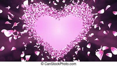 핑크, 심장, 꽃, 장미, 모양, 꽃잎, 매트, 벗나무, 알파, placeholder, 고리, 4k