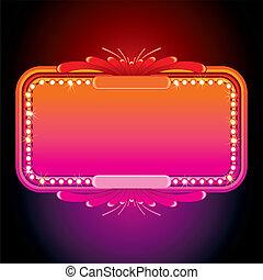 핑크, marquee., 심상, 삽화, 벡터, retro