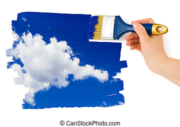 하늘, 그림, 화필, 손