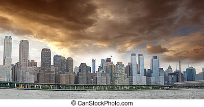 하늘, 흐린, 쪽, 파노라마, 동쪽, 맨해튼, 보이는 상태