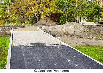 하부 구조, 진보, 도시, 통로, asphalting, 공원