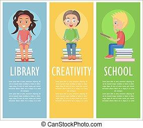 학교 어린이, 독창성, 독서, 도서관