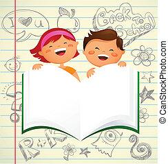 학교 어린이, -, 밀려서, 책, 열려라