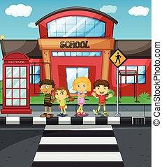 학교 어린이, 십자가, 기다림, 정면, 길