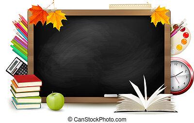학교, school., 칠판, 밀려서, supplies., vector.