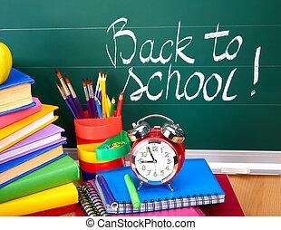 학교, supplies., 밀려서