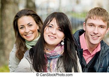 학생, 미소, 그룹, 나이 적은 편의, 옥외