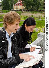 학생, 옥외, 공부, 2