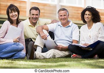 학생, 잔디, 노트북, 학교, 성인