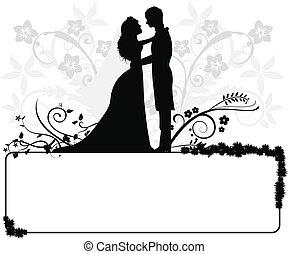 한 쌍, 결혼식, 실루엣