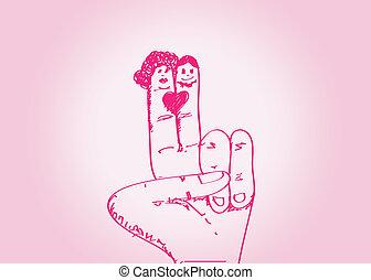 한 쌍, 손, w, 결혼식, 그어진, 만화
