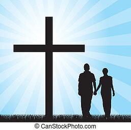 한 쌍, 십자가, 걷기