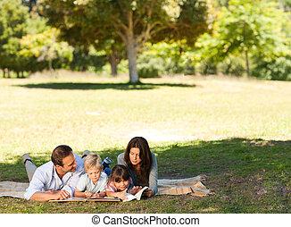 함께, 공원, 가족