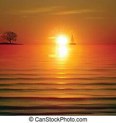 해돋이, 떼어내다, 나무, 바다, 배경