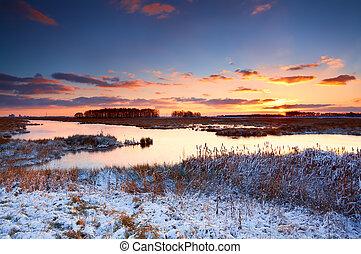 해돋이, 위의, 강, 겨울, 다채로운