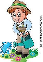 해수욕장의, 만화, 정원사, 양철통