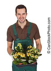 행복하다, 꽃, 나이 적은 편의, 보유, 정원사