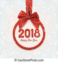 행복하다, 년, 새로운, 둥근, 2018, banner.